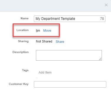 For 'Location', click the text to change the folder for your new email template