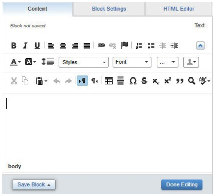 The 'Content' tab's WYSIWYG editor