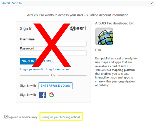 ArcGIS login screen: Check 'Sign me in automatically' and then click 'Configure your licensing options'
