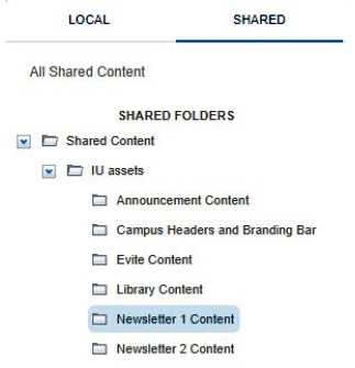 Path to 'Newsletter 1 Content' is highlighted