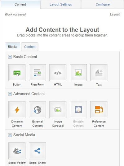From the 'Contents' tab, select content blocks to drag and drop to the layout area