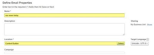 define email properties screen