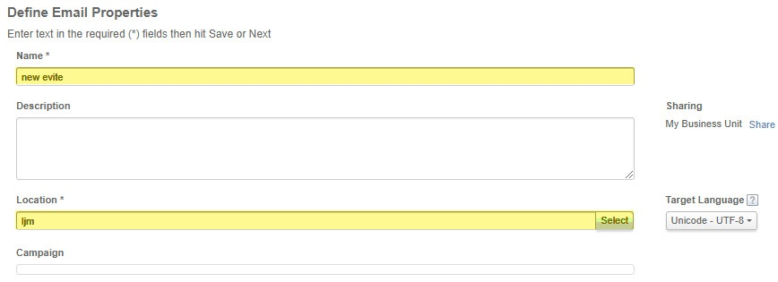 Define Email Properties fields