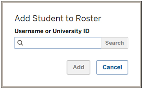 The 'Add Student to Roser' dialog box in Student Engagement Roster