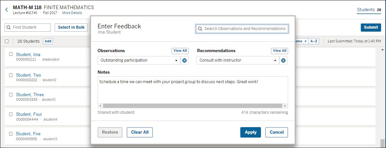 Enter feedback