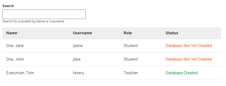 Student Database Roster showing each student's name, username, role, and status