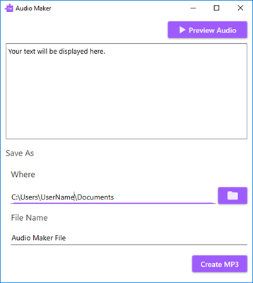 Audio Maker window