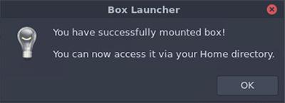 Box Launcher success window