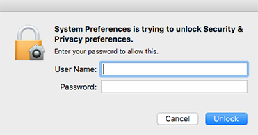 Unlock Security & Privacy preferences