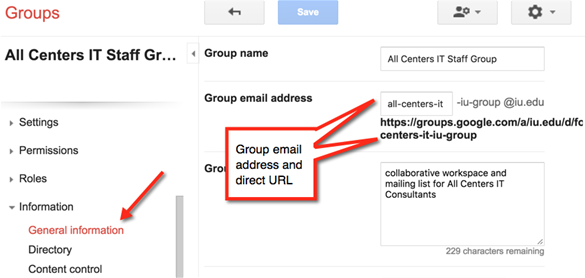 General information screen with group email address and direct URL highlighted