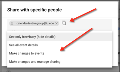 Share with specific people window, with email address and permissions highlighted