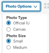 Photo Options menu