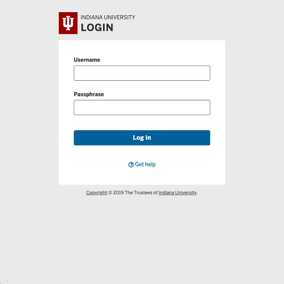 IU Login screen with username and passphrase fields