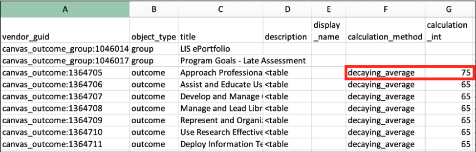 CSV file with Columns F and G highlighted for the first outcome row