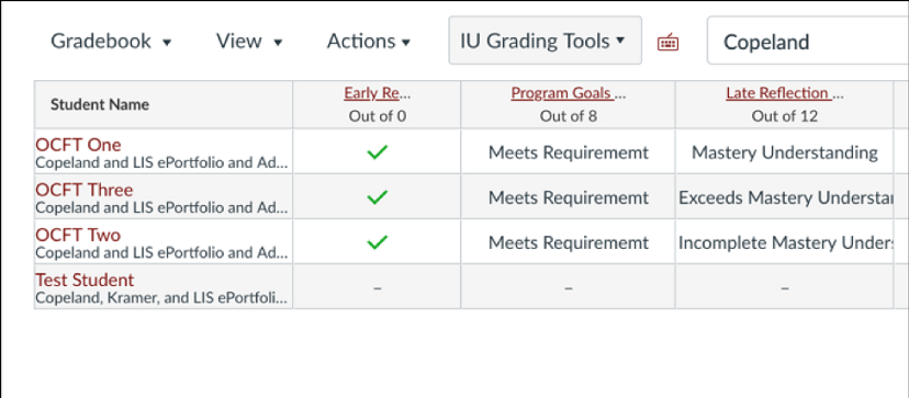 Canvas Gradebook with custom grading scales for proficiency levels, requirements, etc.