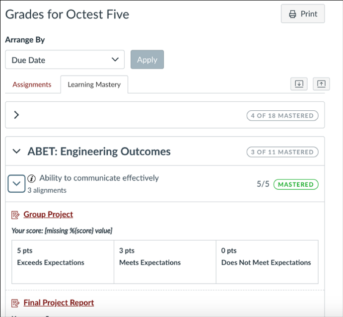 Use Canvas outcomes and rubrics for program assessment and
