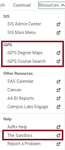 iGPS Resources menu