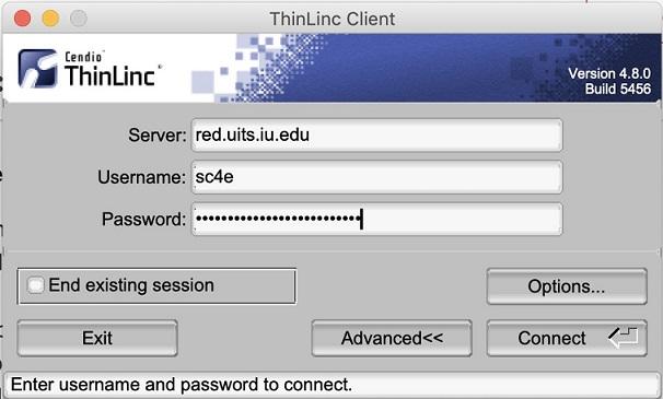 ThinLinc Client login screen