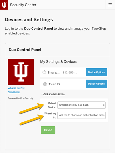 Security Center: Select default device and 'When I log in' option