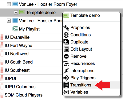 Content Manager Web: Right-click the template and then select Transitions