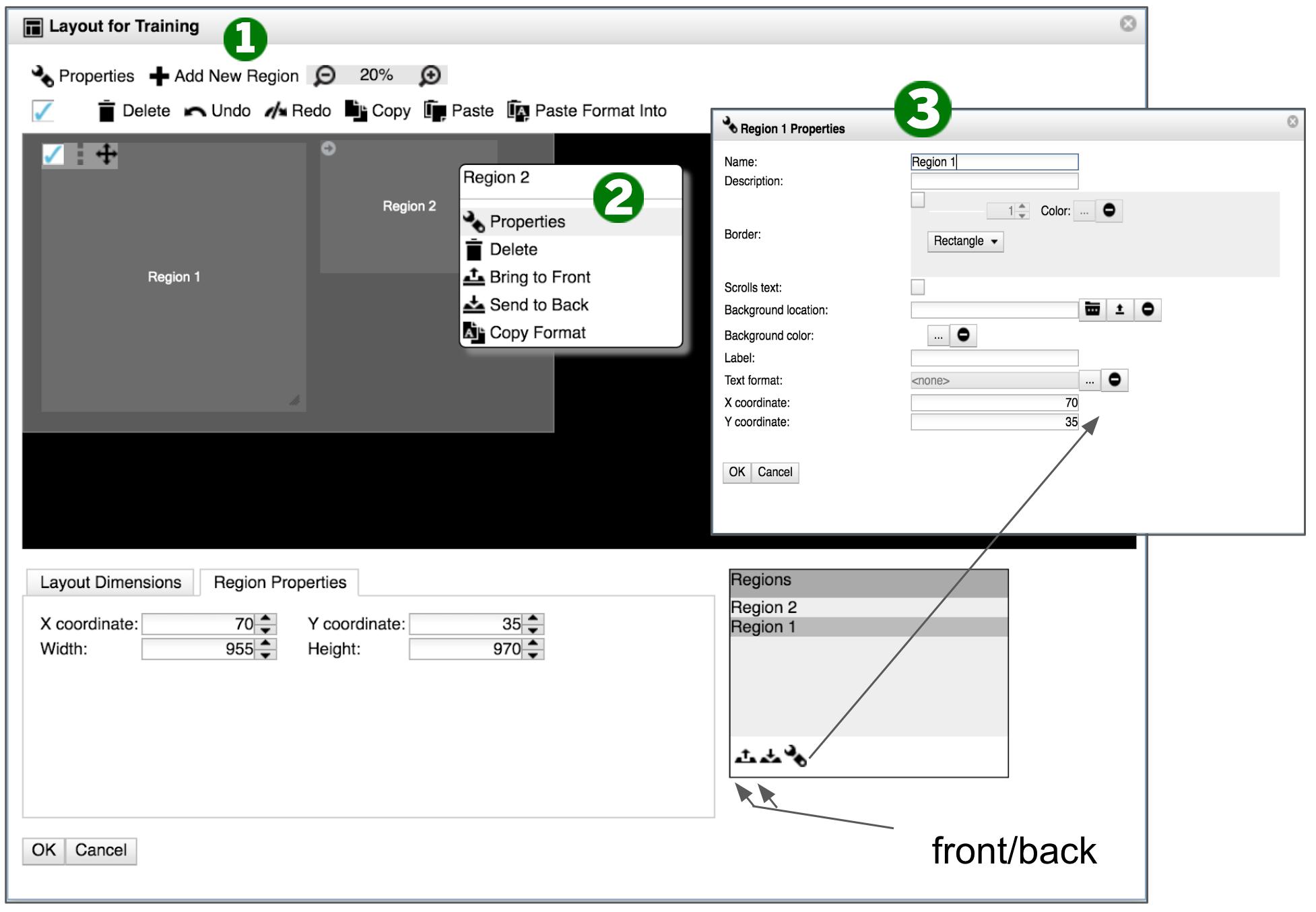 Content Manager Web: Region properties window