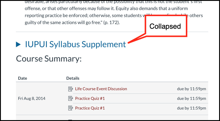 Collapsed syllabus supplement