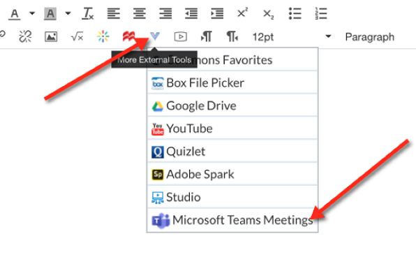 The More External Tools menu with Microsoft Teams Meetings selected