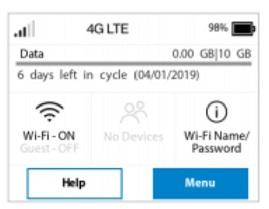 home screen displays data usage, clickable Wi-Fi-name/password, help, and menu