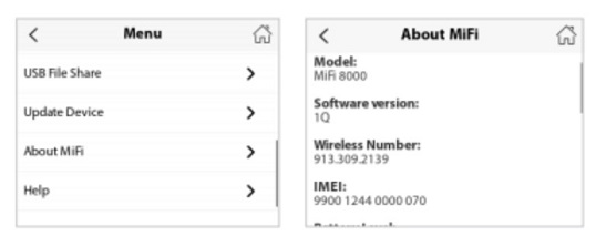 menu and about mifi screens display device details