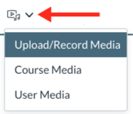 New Record/Upload Media drop-down