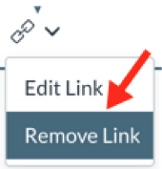 New Links drop-down with Edit Link and Remove Link options exposed
