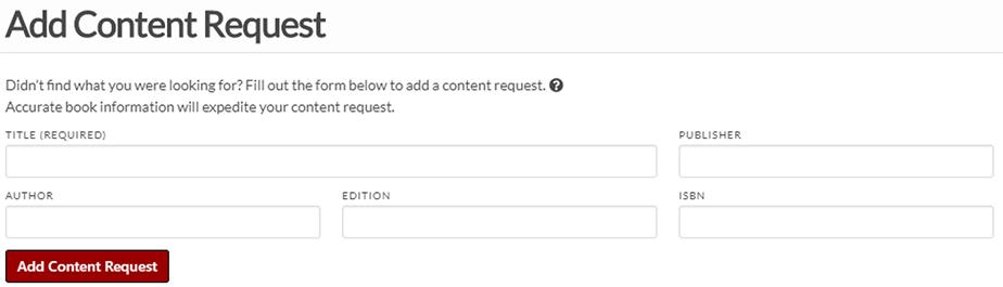 'Add Content Request' form screenshot