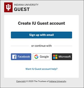 Create IU Guest account screen