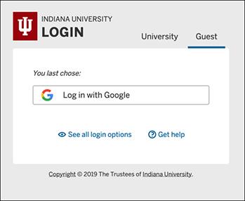 IU Login screen with last-used login method