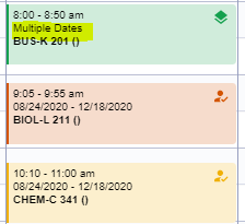 Close-up of three classes in Calendar view