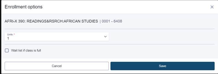 Enrollment options dialog