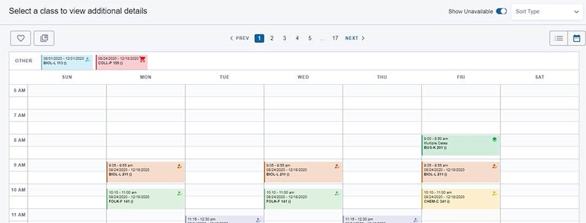 Schedule Builder results page