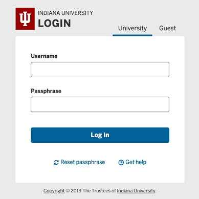 IU Login screen's University tab with username and passphrase fields