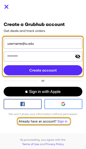 Create an account or sign in