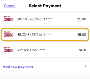 Different SVC options on the Select Payment screen