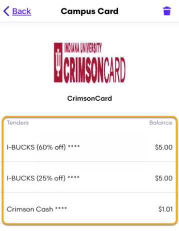 CrimsonCard tender options on the Campus Card screen