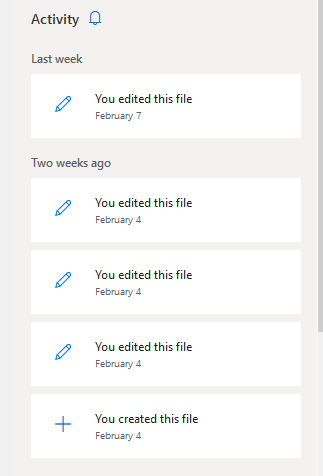 File or folder activity