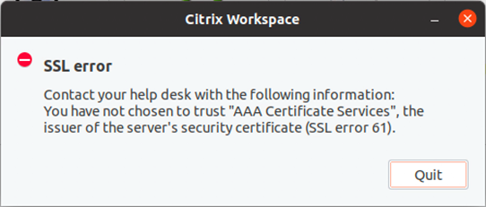 SSL error message