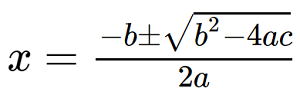Rendering of the quadratic formula by MathJax. The text of how this would be read follows.
