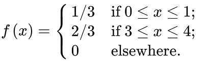 A non-continuous equation with values defined for three distinct domains of x. The text for how this formula would be read follows.