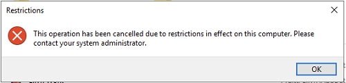 IUanyWare restrictions error message: 'This operation has been cancelled due to restrictions in effect on this computer. Please contact your system administrator.'