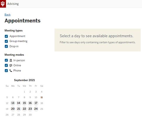 SAS Schedule Appointment calendar screen
